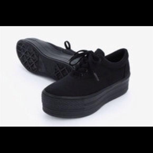 vans black platform sneakers