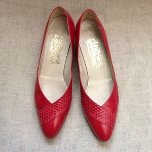 {Vtg Red Ferragamo's}
