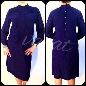Vintage Blue Silk Blouse & Skirt Set