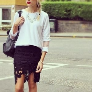 Black lace pencil skirt with hi-lo detail