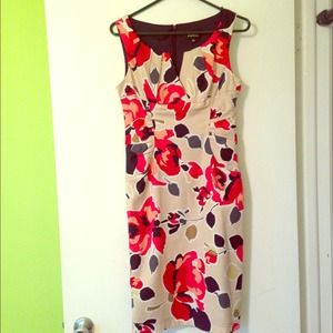 Adrianna Papell Beige Floral Red Blue Dress