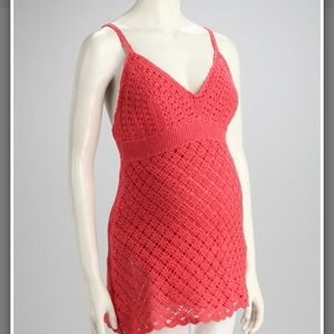 Coral crochet maternity top