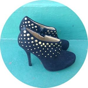Suede booties with gold stud detail - Size 6