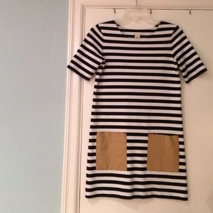 Club Monaco Dresses & Skirts - Club monaco striped dress with leather pockets.