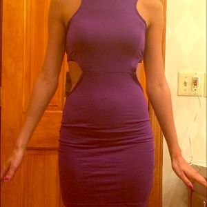 Purple backless bodycon dress cut out sides