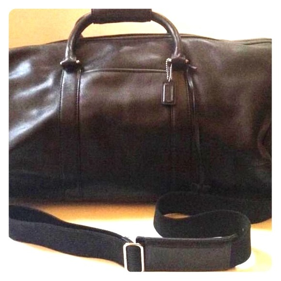 18% off Coach Other - COACH Black Leather Duffle Weekender Bag ...