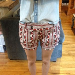 Geo Printed Mod Red Shorts with Button Detail