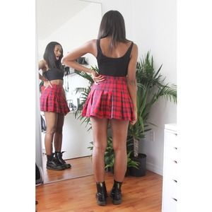 H&M Skirts - H&M Red Plaid Pleated Skirt