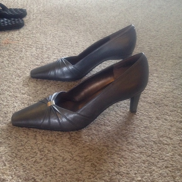 Leather Pewter Dress Heels From Leann