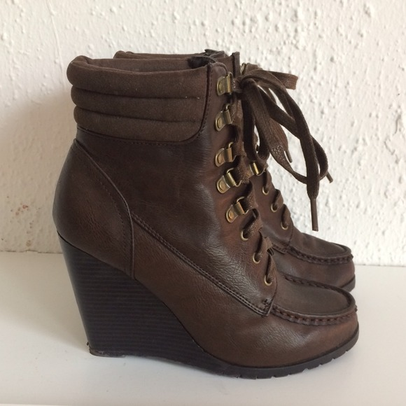 Forever 21 Shoes - Lace-Up Wedge Booties