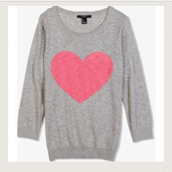 33% off Forever 21 Tops - Cute grey sweater with large pink heart ...