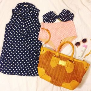 J. Crew Tops - J. Crew Navy Retro Polka Dot Tunic
