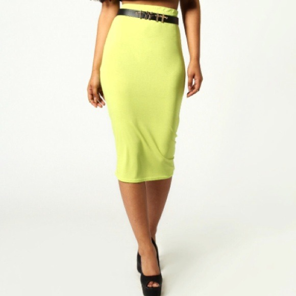 boohoo uk lime green midi pencil skirt from jen s closet
