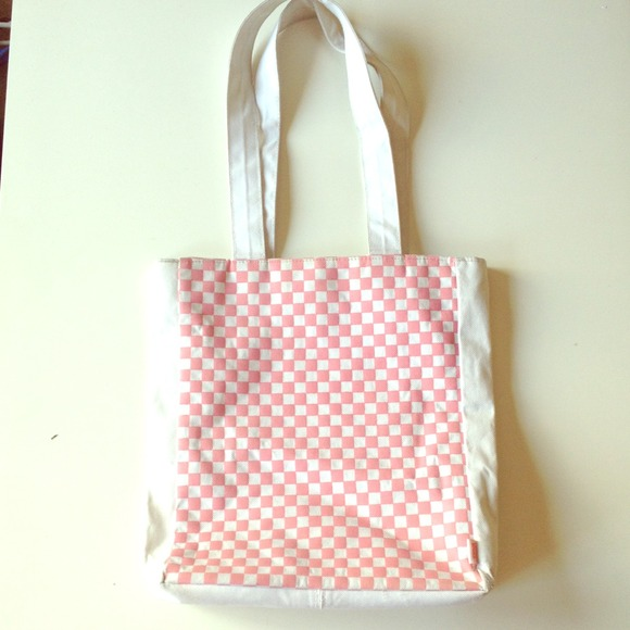 87% off Vans Handbags - Pink and White Checkered VANS Tote Bag ...