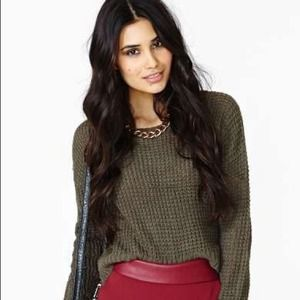 NastyGal/Mustard Seed Olive Cropped Sweater