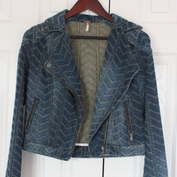Free People Jackets & Blazers - Free People Textured Denim Moto Jacket