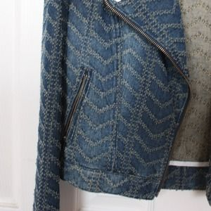 Free People Jackets & Coats - Free People Textured Denim Moto Jacket
