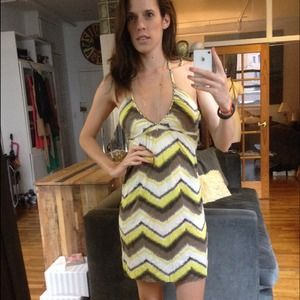 Dresses & Skirts - Neon Zip Zag Print Mini Halter Sundress