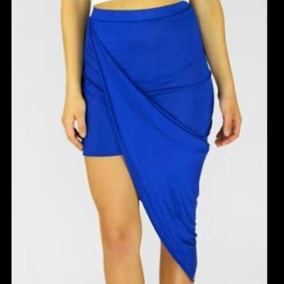 sale royal blue asymmetrical wrap skirt l from val s