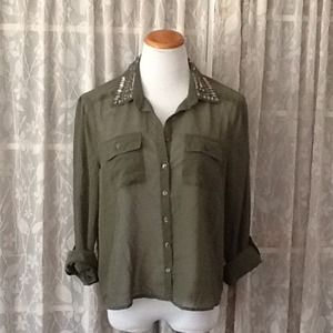 Passport Tops - Sheer olive green blouse