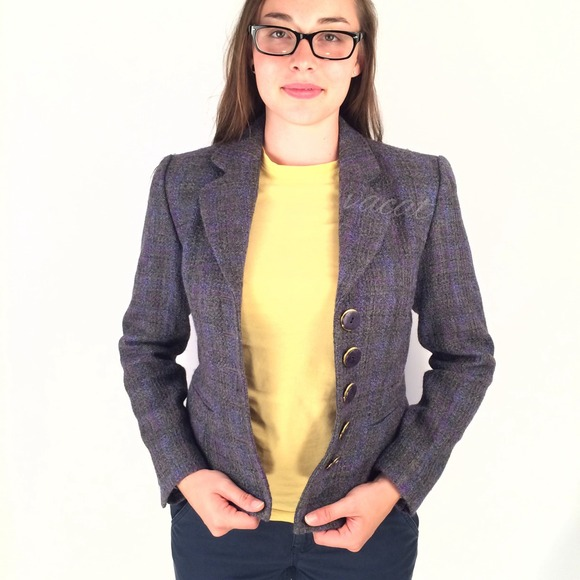Saks Fifth Avenue Jackets & Blazers - Purple & Grey Tweed Blazer