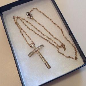 "Jewelry - Vintage Crucifix Cross Necklace Rhinestones 18"""