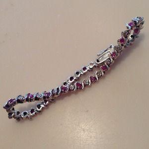 "Jewelry - Silver Fuchsia Pink Stone Bracelet 925 Sterling 7"""