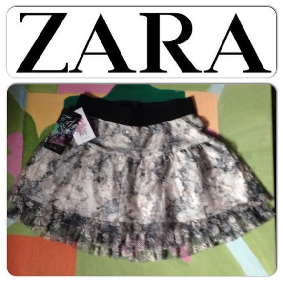 Zara Dresses & Skirts - Zara Lace Fully Lined Skater Skirt L 30