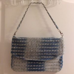 denim stud chain purse