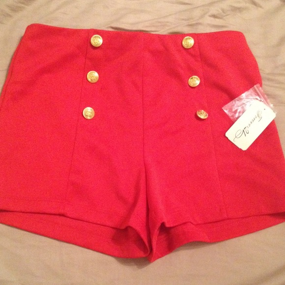 17% off Forever 21 Pants - Red high waisted sailor shorts from ...
