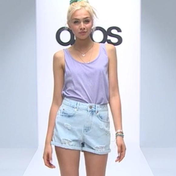 25% off ASOS Denim - High Waisted Mom Shorts in Bliss Light Wash ...