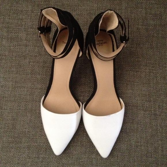 56% off Zara Shoes - Zara black and white kitten heel w/ double