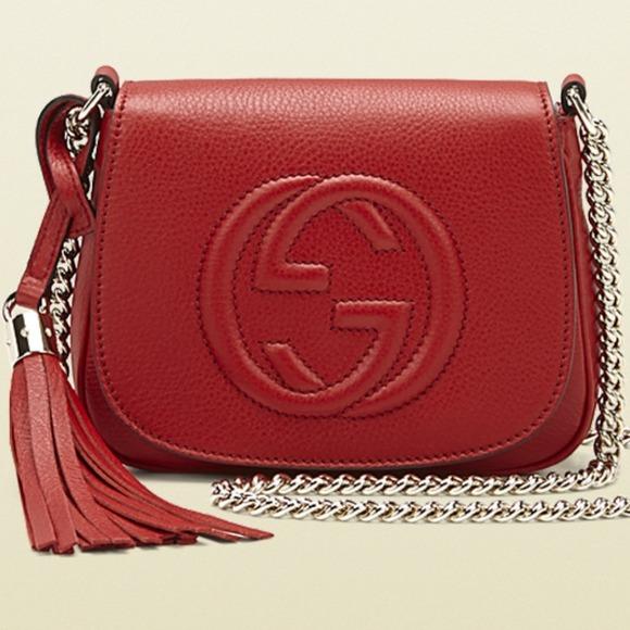 5e468c47666d Gucci Handbags - Gucci Soho leather chain shoulder bag red