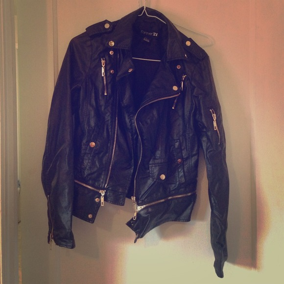 Black leather jacket with gold buttons