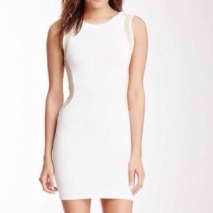 Wow couture white and nude bodycon dress