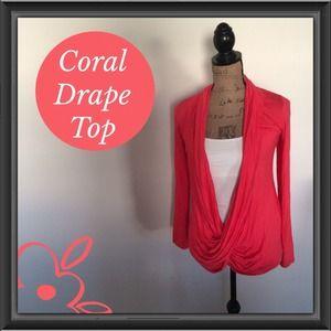 Tops - Coral Crisscross Drape Top
