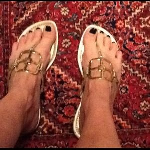 IMAN Shoes - PRE-LOVED SANDAL SALE! Gold Thong Sandals