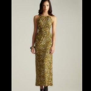 Carmen Marc Valvo Leopard Print Keyhole Dress