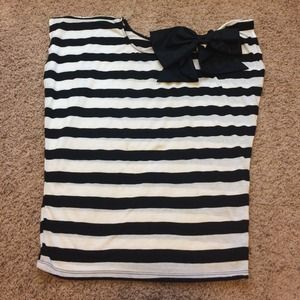 Forever 21 Tops - B&W stripped blouse with silk bow