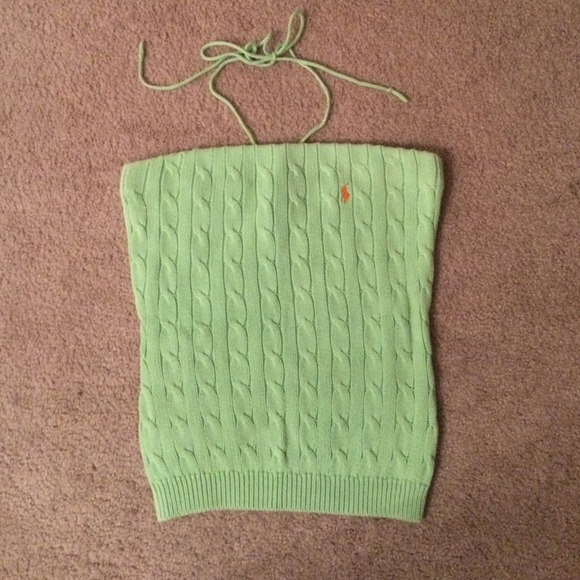 c67991bfd82 Green Polo cable knit tube top or halter top. M 53eadd492d249003a906434a