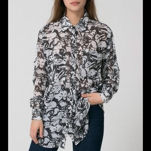 American Apparel Tops - American Apparel Printed Oversized Button Up