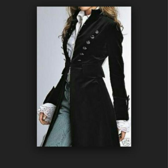73% off Newport news Outerwear - Black Velvet Military Coat from