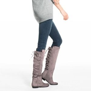 JustFab CUTE Grey Lace-Up Boots
