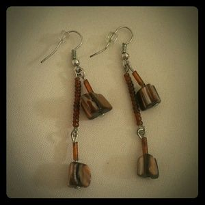 Handmade Brown Beaded Earrings