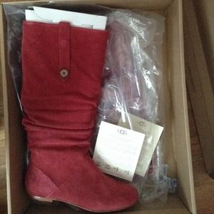 Red suede UGG boots