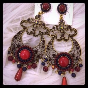 Gorgeous ox blood color earrings