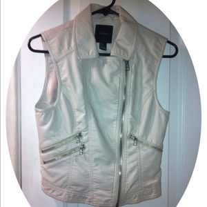 Edgy Cream Colored Leather Vest.