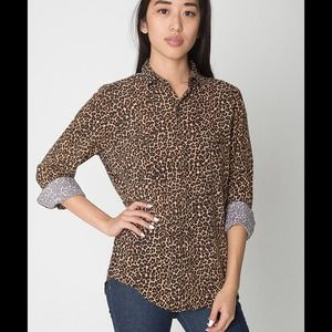 American Apparel Tops - American Apparel Cheetah Print Rayon Button Up