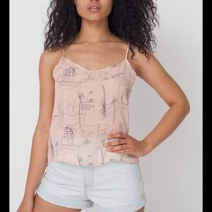 American Apparel Tops - American Apparel Illustrated Chiffon Tank