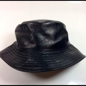 Authentic Black Lambskin Leather Bucket Hat af44c38de7b